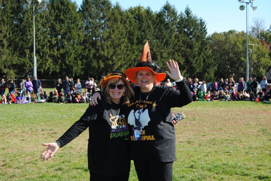 Mrs. Jarman and Mrs. Roop at Halloween