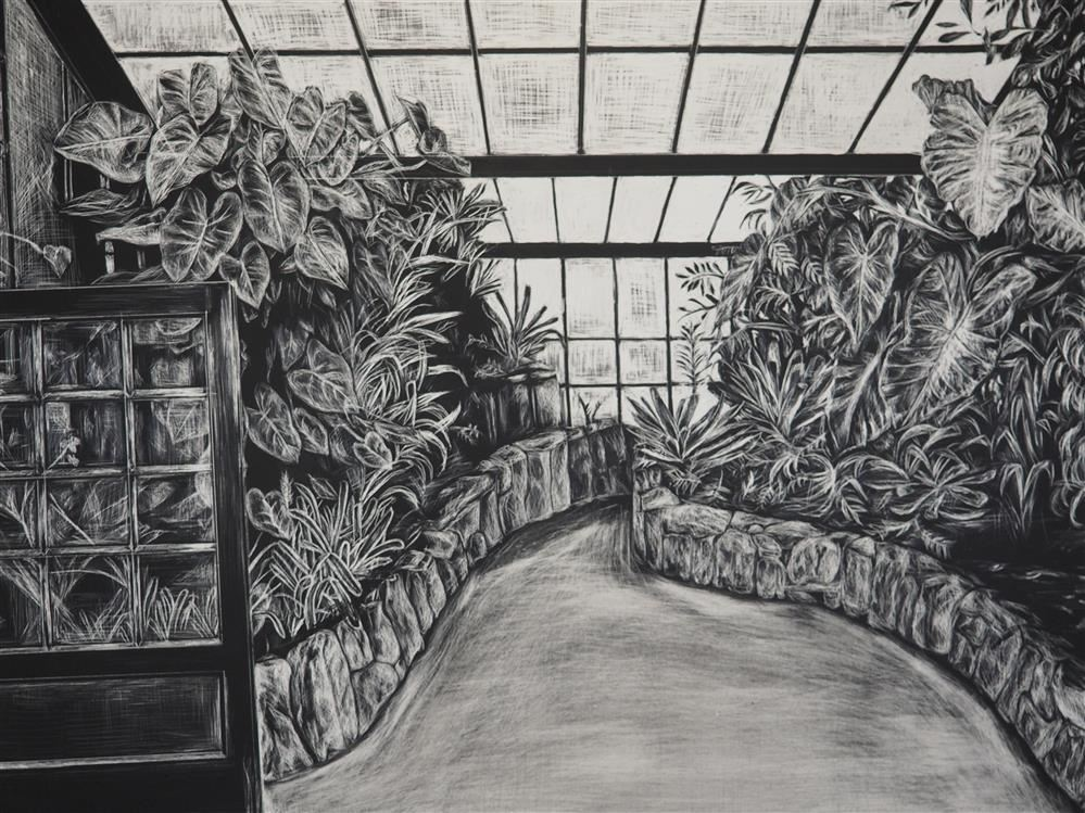 student pencil drawing of a garden
