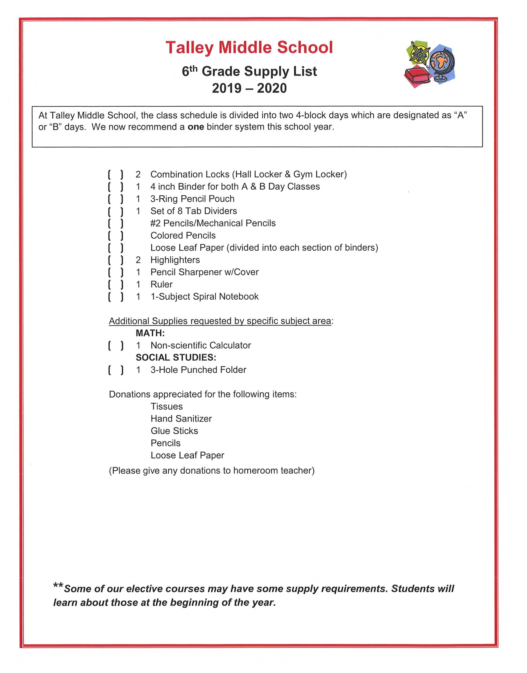 Supply Lists / Supply Lists