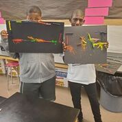 students with crayon art