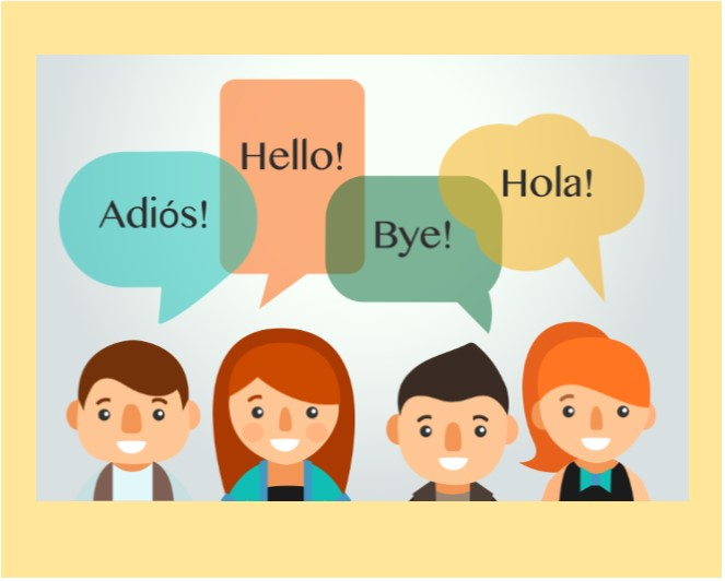 students say hello and bye in english and spanish
