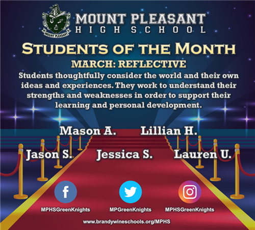 Congratulations to the March Students of the Month