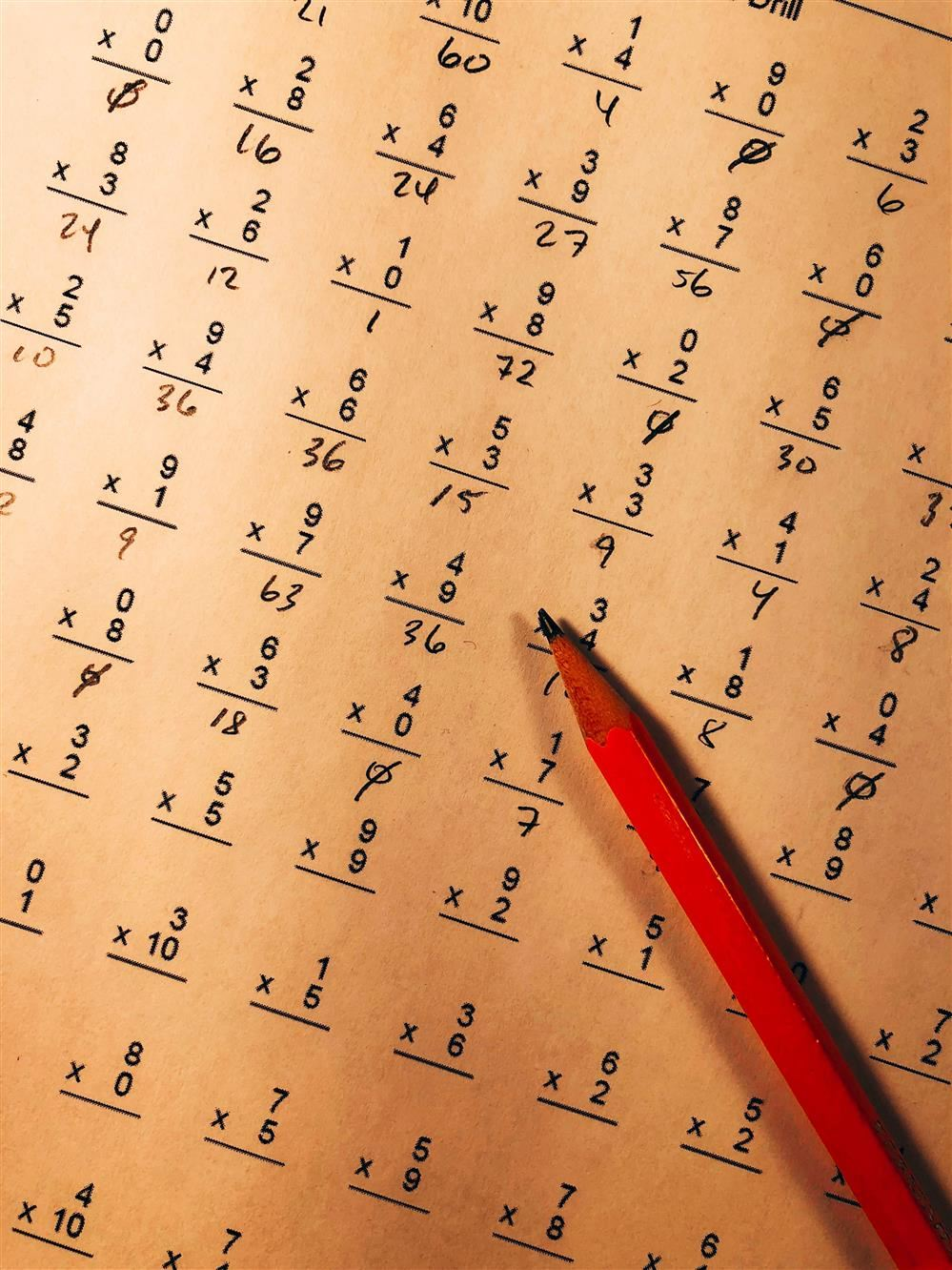 math quiz with red pencil