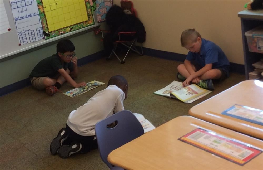 students reading on floor